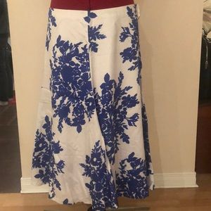 White and Blue Floral Print Circle Skirt